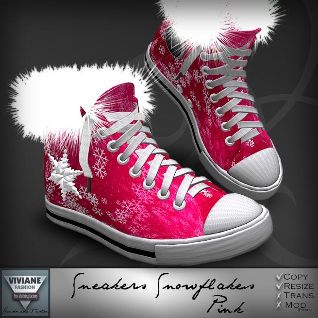 Sneakers Snowflakes Pink