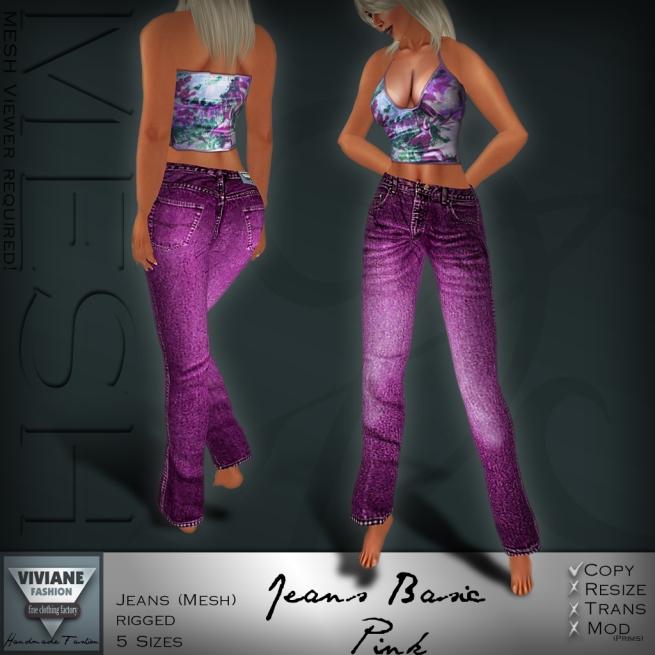 Mesh Jeans Basic Pink